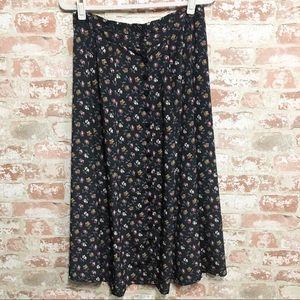 Vintage 90s Rafaella Floral Button Front Skirt